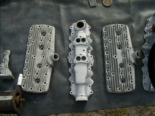 After market Ford flathead V8 heads and dual carburetor intake manifold made by Edmunds