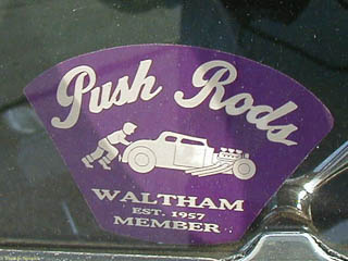 "Window stick for ""Push Rods"" car club showing a man pushing his hot rod"